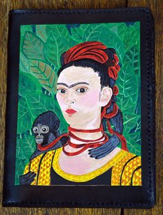 Notebook with Frida Kahlo Self-Portrait by leatherarts on Etsy