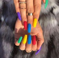 Pretty Multicolored Nail Art Designs For Spring and Summer 2019 rainbow nails, colorful nail art design, French manicure, Multicolored Nail Art Designs Cute Acrylic Nails, Matte Nails, My Nails, Acrylic Nails For Summer Coffin, Glitter Nails, Coffin Nails 2018, Brown Acrylic Nails, Summer Stiletto Nails, Acrylic Nails Stiletto