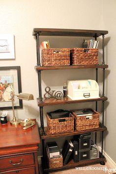 Industrial Vintage Office Make-Over; DIY pipe shelves