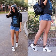 Get this look: http://lb.nu/look/8594087  More looks by Gina: http://lb.nu/therosegoldfox  Items in this look:  Adidas White Sneakers, Band Tee, Mesh Top, Studded Backpack, Diy Denim Shorts   #edgy #grunge #street #bandtee #mesh #ootd #casual #fishnetsocks #beanie