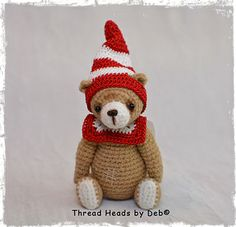 "Miniature, Primitive style, Thread Artist Bear. 2.5"" tall, crocheted using Punch Threads. ~Graham~"