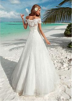 A-Line Long Off-The-Shoulder Short-Sleeve Corset-Back Lace Dress With Bow And Sash - Dorris Wedding Sexy Wedding Dresses, Gorgeous Wedding Dress, Cheap Wedding Dress, Designer Wedding Dresses, Wedding Attire, Wedding Gowns, Corset Back Wedding Dress, Lace Wedding, Wedding Cake