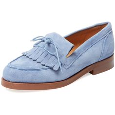 Firth Firth Women's Suede Fringe Loafer - Blue - Size 10 (7.620 RUB) ❤ liked on Polyvore featuring shoes, loafers, blue, blue fringe shoes, blue low heel shoes, loafer shoes, leather shoes and leather loafers
