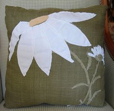 Reclaimed Feed Seed Coffee Sack Burlap Linen Pillow Floral Giant Daisy 15 x 15 $45 by CURIOSITY. For You. Home. Garden., via Flickr