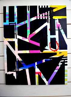 abstract painting diy maybe with magazine paper and tape and black spray