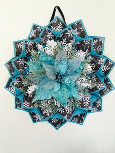 Large aqua, black and silver wreath. Cones are made with Aqua card stock and are lined with a black background with Aqua writing and white Christmas Sewing, Christmas Projects, Holiday Crafts, Christmas Wreaths, White Christmas, Christmas Decorations, Christmas Ornaments, Fabric Wreath, Fabric Ornaments