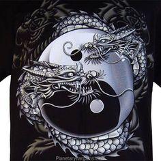Chinese Dragon Yin-Yang T-shirt Dragon Tattoo Art, Dragon Artwork, Dragon Tattoo Designs, Dragon Yin Yang Tattoo, Celtic Dragon Tattoos, Ying Y Yang, Yin Yang Art, Yin Yang Tattoos, Yin Yang Designs