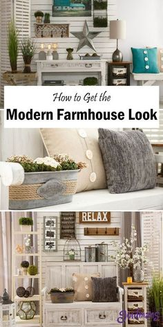Find ways to decorate your home with modern farmhouse decor. This style is beaut… Find ways to decorate your home with modern farmhouse decor. This style is beautiful for all homes and will add that country look to any room. Pin: 736 x 1472 Diy Home Decor Rustic, Country Farmhouse Decor, Modern Farmhouse Style, Easy Home Decor, Farmhouse Décor, Country Kitchens, Farmhouse Ideas, Country Modern Decor, Farmhouse Furniture