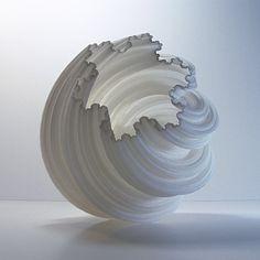 Modern Vase 3D Fractal Spiral Modern Art Pottery Art Sculpture