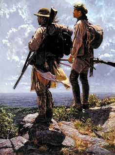 """""""Muted by the Vista"""" (atop Chestnut Ridge) by John Buxton, Artist of our Heritage - Looking very much like """"Scots-Irish Frontiersmen! American Indian Art, Early American, Native American Art, American History, American Women, American Indians, Colonial Art, French Colonial, Mountain Man Rendezvous"""