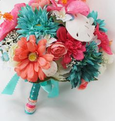 Tropical Wedding Bouquet  Teal  Pink  Coral  I actually really like this color combo... I would be willing to omit the peacock feathers for this.... could still make it country-esk