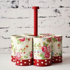 Recycle cans - Recycled cans storage caddy set of seven dots and roses red handmade Can Storage, Storage Caddy, Tin Can Crafts, Diy And Crafts, Upcycled Crafts, Mini Cake Stand, Recycled Tin Cans, Recycle Cans, Wooden Handles