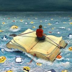 The magic of books - - Meaningful Pictures, Satirical Illustrations, Poster Drawing, Reading Art, World Of Books, Book Images, Surreal Art, I Love Books, Graphic