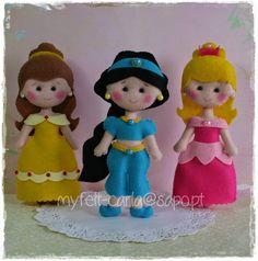 Princesas em feltro: Bela, Jasmine e Aurora!