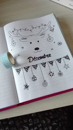 Reindeer bullet journal monthly header for December// Bujo art idea Wreck This Journal, My Journal, Journal Pages, Journal Covers, Bullet Journal How To Start A Layout, Bullet Journal Ideas Pages, December Bullet Journal, Bullet Journal Inspiration, Bullet Journal Christmas
