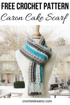 This easy striped scarf free crochet pattern is the perfect piece to add to your wardrobe this winter. The quick tutorial uses one skein of Caron Cakes and simple stitches that any beginner can master. One Skein Crochet, Crochet Scarves, Crochet Shawl, Diy Crochet, Crochet Clothes, Beginner Crochet, Crotchet, Crochet Ideas, Crochet Baby