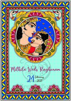 Madhubani Art, Madhubani Painting, Wedding Card Design Indian, Card Wedding, Wedding Ideas, Floor Vase Decor, Kalamkari Painting, Wedding Painting, Indian Folk Art