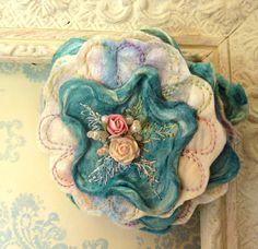 Blue Flower Brooch. Silk Flower Pin. Handcrafted Gift