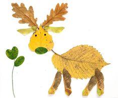 animal art made from leaves - deer or moose or elk?