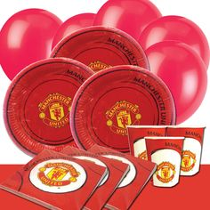 Manchester United FC Birthday Party Supplies with the world famous Manchester United FC crest. Part of our fantastic licensed children's party supplies range. These colourful and graphic Birthday Party Plates, Party Cups, Party Napkins, Party Tablecover and Party Balloons are ideal for your children's birthday party celebration.