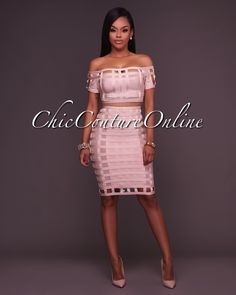 Sheila Cage Pattern Nude Bandage Two Piece Set c82d9ba99ed2