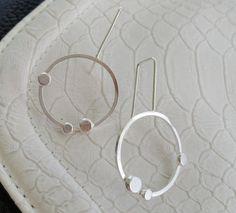 Sterling silver dangle circular earrings by modernsilver on Etsy