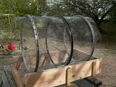 Compost sifter (trommel sifter) made of bicycle rims and hardware cloth.