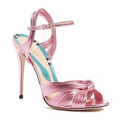 Women's Gucci 'Allie' Peep Toe Pump ($795) ❤ liked on Polyvore featuring shoes, pumps, pink, peep toe shoes, woven leather shoes, t-strap peep-toe pumps, pink shoes and pink leather pumps