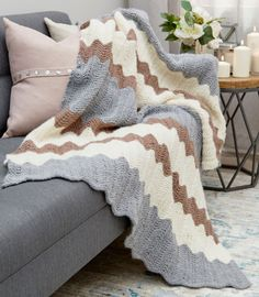 The cozy Calming Chevron Knit Blanket Pattern will bring comfort and calm into your home!