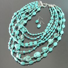 Turquoise Layered Cowgirl Necklace Set