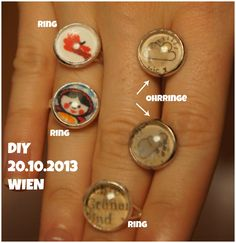 DIY 20.10.2013 WIEN Ringe und Ohrringe selbst gemacht! Class Ring, Phone, Rings, Diy, Jewelry, Crafting, Telephone, Jewlery, Bricolage
