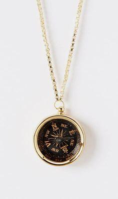ZAD Black & Goldtone Compass Pendant Necklace