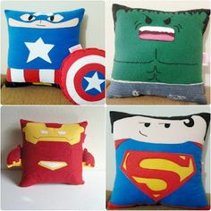 Almohadas frikis fieltro Superhero Fabric, Plushie Patterns, Diy Letters, How To Make Pillows, Animal Pillows, Felt Dolls, Sewing Appliques, Kids Decor, Handmade Christmas