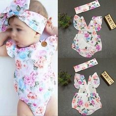 Baby Girls Floral Bodysuit Rompers Summer Dress Headband Sunsuit Outfit Set
