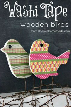 With just a few simple supplies you can make these adorable one-of-a-kind Spring Decoration. Switch the colors to match your own on these Washi Tape Wooden Birds! Pin to your Crafts Board! Diy Washi Tape Decor, Diy Washi Tape Projects, Washi Tape Uses, Washi Tape Cards, Tape Crafts, Duct Tape, Craft Projects, Craft Ideas, Washi Tapes