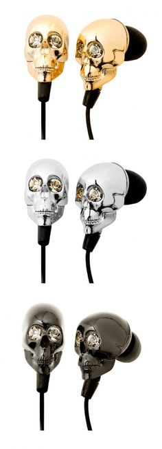 Swarovski crystal skull earbuds. #ElectronicGadgets,