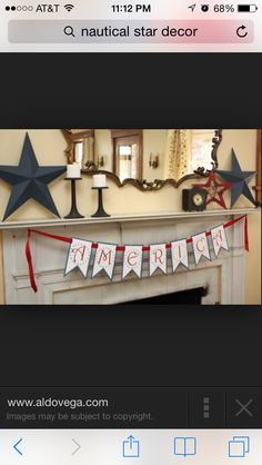 A banner adds pop to a mantle piece!