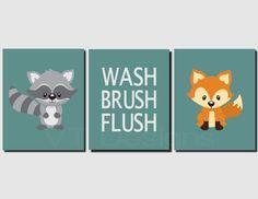 Kids Bathroom Art Bathrooms Decor Kid Woodland Creatures Forest Animals Decorating