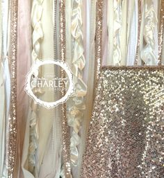 Sequin Wedding Garland Pink Blush Ivory White Fabric Party Garland Curtain Sparkle Backdrop - Baby Shower, Nursery - 5ft x 6ft