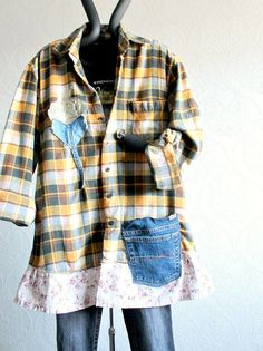 Upcycled vintage plaid shirt with denim pocket and flower applique.  AMY Shirt  This plaid shirt is made from a soft flannel and features a