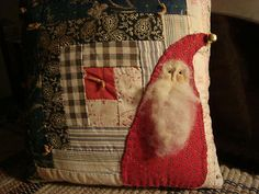 Primitive Folky Santa On Old Quilt Pillow