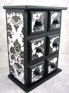 Black and white damask, six drawer, jewelry box. Box is 7 inches tall, 5 inches wide, and 2 inches deep. Box has been sealed and has a satin finish. Painted Furniture, Diy Furniture, Furniture Design, Modern Furniture, Furniture Cleaning, Jewelry Box Makeover, Black And White Furniture, Damask Decor, Decoupage
