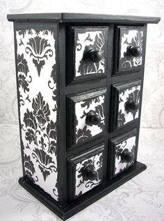 6 drawer black & white damask jewelry box by PZcreations