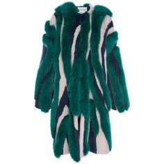 Prabal Gurung Striped Mink and Fox Fur Coat ($55,000) ❤ liked on Polyvore featuring outerwear, coats, prabal gurung, multi, fox fur coat, blue coat, mink coat and long sleeve coat