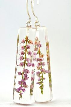Heather Earrings Resin Earrings wIth Natural Heather by Caldesia