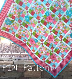 Flower Checked Quilt PATTERN - Baby Girl Quilt Pattern, PDF Pattern, Country Chic, Modern Girl Quilt, Lap Quilt Pattern, floral girl quilt