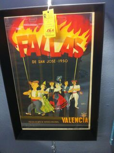 Cartel auténtico de Fallas de 1950 #vintage #retro