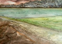 Giuliana Criscuolo - Sea loch, pink and green-  Fluid acrylics and gesso on paper - 30 cm x 40 cm