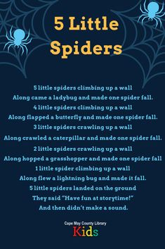 We love this counting and subtraction rhyme featuring all sorts of bugs and spiders! Perfect for spring, bug, and Halloween themes in storytime or the classroom. Halloween Songs For Toddlers, Halloween Poems, Fall Preschool Activities, Nursery Activities, Nursery Songs, Nursery Rhymes, Baby Songs, Kids Songs, Rhyming Preschool