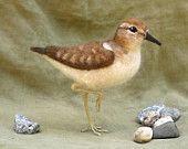 Needle felted sandpiper, poseable shorebird, beach house decor, made to order see description